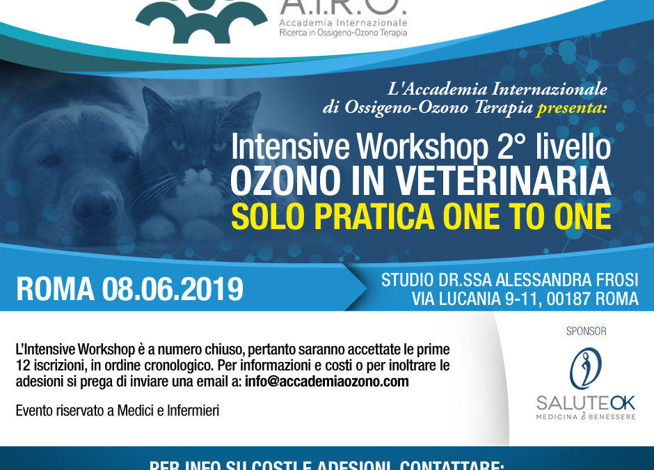 IWS 2° livello OZONO IN VETERINARIA SOLO PRATICA ONE TO ONE ROMA 08.06.2019