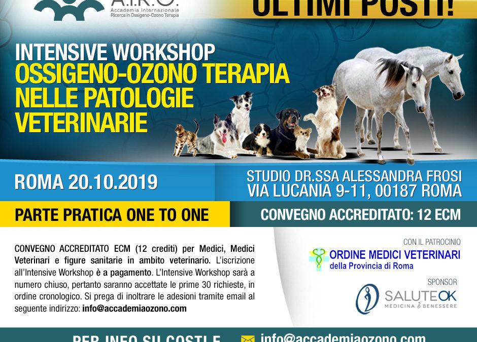 IWS OSSIGENO-OZONO TERAPIA NELLE PATOLOGIE VETERINARIE – ROMA 20.10.2019