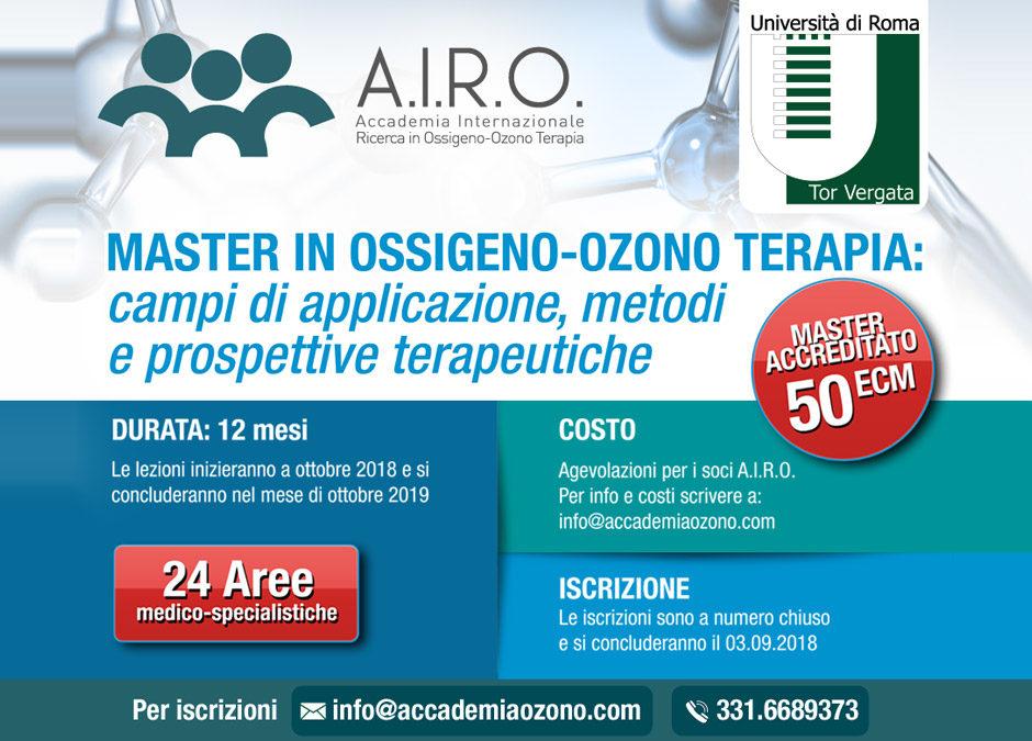 MASTER IN OSSIGENO-OZONO TERAPIA: campi di applicazione, metodi e prospettive terapeutiche