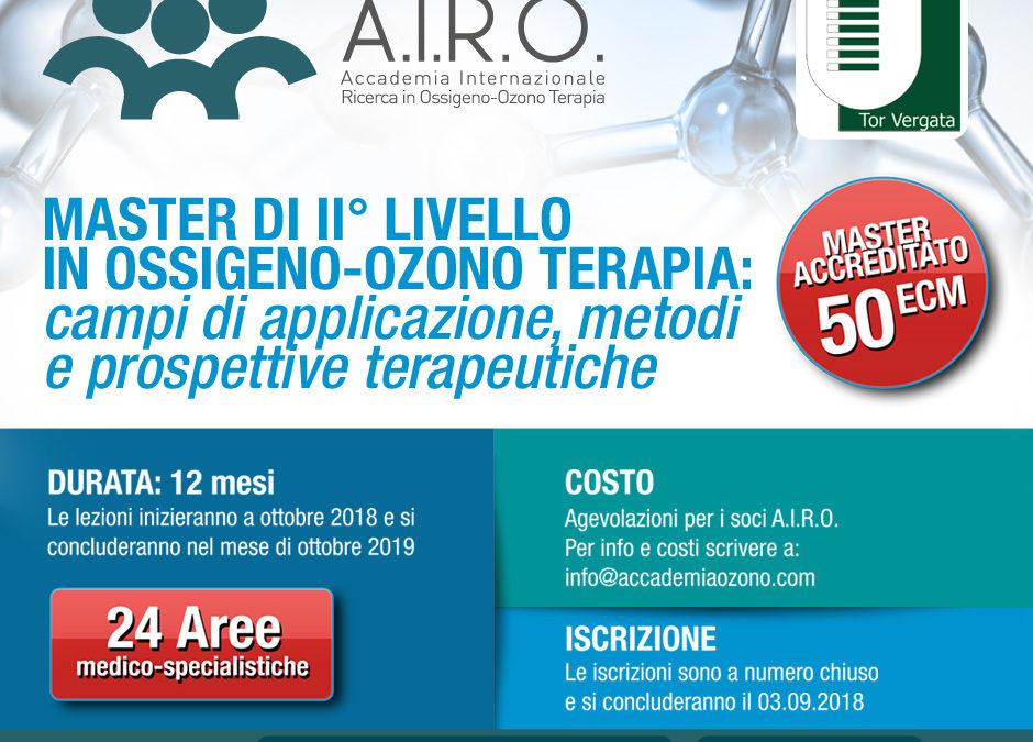 MASTER DI II° LIVELLO IN OSSIGENO-OZONO TERAPIA: campi di applicazione, metodi e prospettive terapeutiche