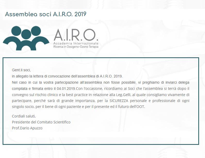 Assemblea soci A.I.R.O. 2019