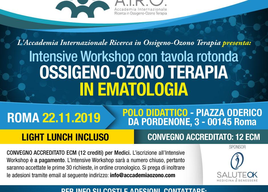 IWS con tavola rotonda OSSIGENO-OZONO TERAPIA IN EMATOLOGIA – ROMA 22.11.2019