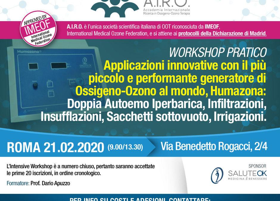 Workshop Pratico: generatore di Ossigeno-Ozono Humazona – Roma 21.02.2020